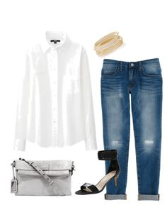 Fall denim outfit ideas - for fall fashion, try pairing your boyfriend jeans with a crisp white shirt, strappy heels and handbag.