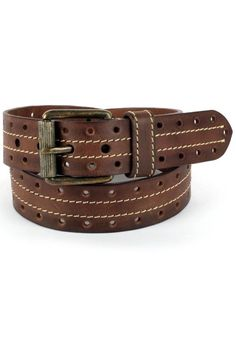 Handmade, Hand Colored Vintage Brown Casual leather Belt For Men With Round Punch