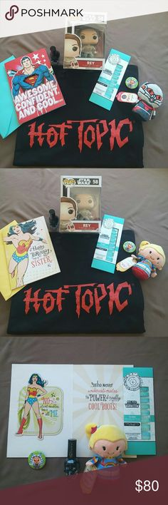 ComicCon Hot Topic Bundle Superman or Wonder Woman Superman Bundle: Hot topic t-shirt size unisex Large, Hot topic tote bag, Superman card & envelope, Blackheart skull nail polish in black sparkle, Ant man itty bittys, Nerd manicures in mermaid scales and Star Wars Rey #58 Funko Pop     Wonder Woman Bundle: Hot topic t-shirt size unisex large, Hot topic tote bag, Wonder Woman card & envelope, Blackheart skull nail polish in black sparkle, Rainbow Brite itty bittys, Nerd manicures in mermaid…