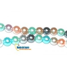 Perla Vidrio Multicolor 4mm(Tira)