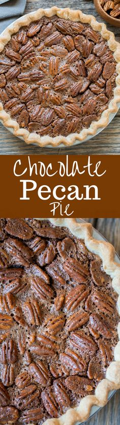 Chocolate Pecan Pie - Fudgy and rich, this is an easy pie to make and everyones favorite during the holidays. www.savingdessert.com #chocolatepecanpie #pie #dessert #savingroomfordessert #pecanpie