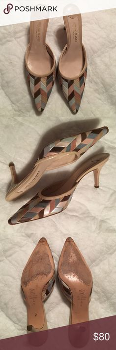 """Bruno Magli suede & leather slide heels Bruno Magli patchwork suede & leather slide heels. Tones of brown, blue, grays & pinks. 3 1/4"""" heels (outside measure). In good condition. There is minor signs of wearing on soles at the toe. Hand made in Italy. Bruno Magli Shoes Heels"""