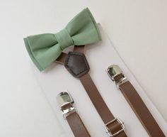 8mon- Adult Kids Mens Baby Boys 1/2 inch Dark Brown PU Leather Suspenders & Sage Green Cotton bow tie Wedding Groom Page Boy SET