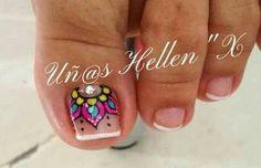 Super cute big toe nail art design idea #nailart Pretty Toe Nails, Fancy Nails, Love Nails, Toenail Art Designs, Pedicure Designs, Feet Nails, Manicure E Pedicure, Toe Nail Art, Fabulous Nails