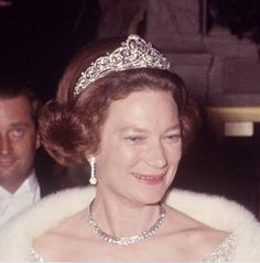 Grand Duchess Josephine Charlotte, wearing the tiara gifted to her in 1953. The central diamond can be removed and worn as a ring, then central diamond motif can be worn as a brooch.
