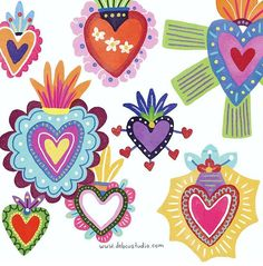 Mexican Crafts, Mexican Folk Art, Mexican Artists, Pattern Texture, Heart Illustration, Heart Painting, Sacred Heart, Wonderwall, Heart Art