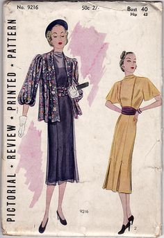 Vintage sewing pattern to make a short sleeved frock with inverted pleats and loose hanging jacket with full sleeves.  Condition This is an original vintage pat