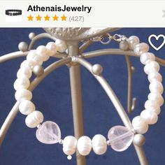 White pearls and rose quartz hearts sterling silver chakra stones bracelet! A gift to show your love for her!