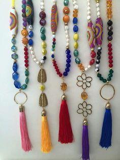 Boho bead and tassel neckwear Tassel Jewelry, Beaded Jewelry, Jewelry Necklaces, Beaded Bracelets, Jewellery, Handmade Necklaces, Handmade Jewelry, Urban Jewelry, Diy Necklace