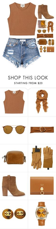 """""""// brown is my colour \\"""" by addicted-to-a-memory ❤ liked on Polyvore featuring Samuji, Ray-Ban, MANGO, Valentino, The North Face, Laurence Dacade, Fendi, Chanel, Rolex and casual"""