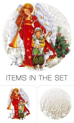 """""""Christmas Angels contest"""" by empathetic ❤ liked on Polyvore featuring art"""