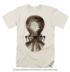 Octopus Head T-Shirt http://artprint.org/products/octopus-head-frank-tschakert-adult-tshirt.html    graphic,art,shirt,octopus,funny,tshirt,tshirts,cartoon,animal,animals,shirts,nerd,nerdy
