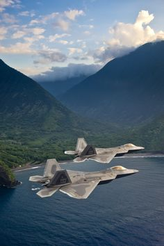 F-22 two-ship flying over Hawaii
