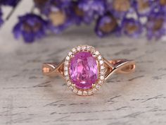 6x8mm Oval Cut Pink Sapphire and Diamond Engagement Ring 14K Rose Gold Halo Split Shank Curved Loop