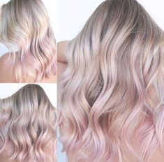 Cool blonde hair with pastel pink rose gold hair tips – Rose hair Dusty Rose Hair, Rose Gold Hair Blonde, Blonde With Pink, Ash Blonde Hair, Blonde Hair With Highlights, Platinum Blonde Hair, Rose Pink Hair, Blonde To Pink Ombre, Pastel Blonde