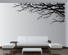 Vinyl Wall Art Decor Tree Top Branches Sticker choose size color direction 1201 #Lightsforever #Contemporary