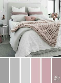 Bedroom colour palette - would look stunning with some gold accents! The perfect bedroom color palette! Bedroom ideas interior design bedroom makeover bedroom inspiration pretty bedding bedroom accessories home Pale Pink Bedrooms, Mauve Bedroom, Blush Pink And Grey Bedroom, Pink Grey, Mauve Bedding, Bedding Sets, Mauve Walls, Grey And White Room, Grey Duvet