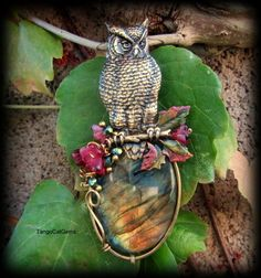 Owl and labradorite Pendant Necklace by TangoCatGems on Etsy
