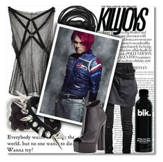 """I Wanna Be Killjoy! :D"" by isabeldizova ❤ liked on Polyvore featuring Nina Ricci, Urbanears, Giuseppe Zanotti, music, black, emo and mychemicalromance"