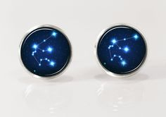 Aquarius star constellation, stars constellation, universe post earrings, stud earrings, nature jewelry, glass picture earrings, zodiac by Glassfulldreams on Etsy https://www.etsy.com/listing/190692332/aquarius-star-constellation-stars