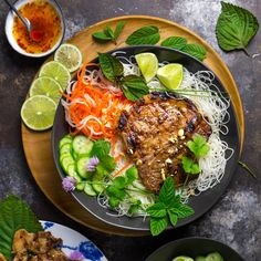 Vietnamese Grilled Pork Chops (Thit Heo Nuong Xa) with Cold Rice Noodles