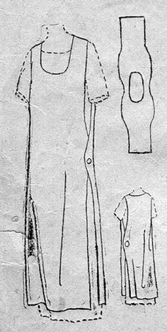 1918 Vintage Apron - picture only. Make pattern from pic. Great for apron, add pockets, can also make tunic. Sewing Aprons, Sewing Clothes, Diy Clothes, Sewing Hacks, Sewing Tutorials, Sewing Crafts, Sewing Tips, Sewing Ideas, Clothing Patterns