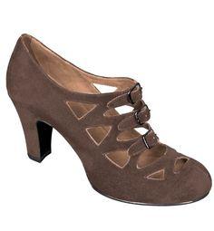 Aris Allen Women's Brown Faux Suede 1940s Vintage 3 Buckle Dancing Shoes with Suede Soles