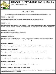 transitions for essays list