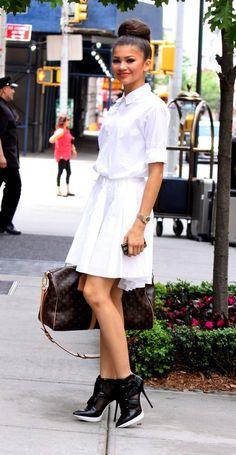 Get the Look: Zendaya Coleman's New York City pureDKNY Stretch Cotton Poplin Long Sleeve Dress and Pulse High Top Platform Booties