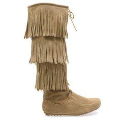 Baylee-10 Beige Fringe Lace Up Knee Length Flat Boots