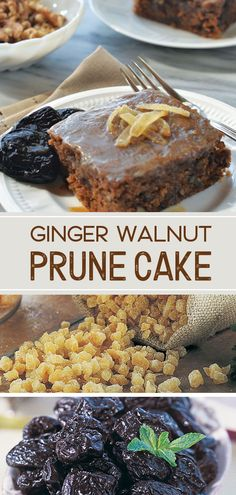This gooey old fashioned cake is actually good for you? We've cut back on the sugar, added nuts and ginger for even more healthy benefits! Maple Syrup Recipes, Walnut Recipes, Best Fruit Cake Recipe, Prune Cake, Prune Recipes, Healthy Dessert Recipes, Cake Recipes, Rich Recipe, Food Substitutions