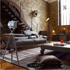 Masculine interior design doesn't mean rough or un-evolved. Find design tips and images to help you create a spectacular and creative masculine interior. Loft Estilo Industrial, Industrial Interior Design, Industrial House, Industrial Interiors, Home Interior Design, Industrial Style, Industrial Apartment, Industrial Furniture, Industrial Bookshelf