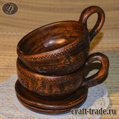 Керамическая чашка с блюдцем с обереговой символикой в интернет-магазине Рукоделец