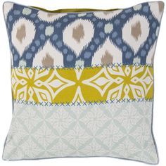 Wonderful mix of color and pattern on this pillow designed by @Kate Spain for Surya. (KS-009)