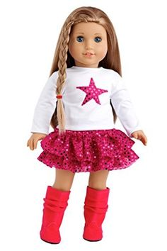 Pink Star - White Blouse with Pink Star, Pink Sequin Ruffle Skirt and Hot Pink Boots - 18 Inch American Girl Doll Clothes  Price : $21.97 http://www.dreamworldcollections.com/Pink-Star-Blouse-American-Clothes/dp/B00JQW0ABC