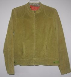 Ruff Hewn Green Suede Leather Jacket Large Full Zip Lined  Women's Fall Winter Fashion Style 2016