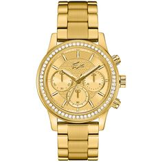 Lacoste Charlotte gold watch with chronograph found on Polyvore featuring jewelry, watches, gold chronograph watches, lacoste, crown jewelry, sports watches and sport chronograph watches