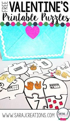 Love these free Valentine's Day printable counting puzzles!