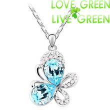 free shipping women accessories brand oceanblue darkblue white Austrian crystal butterfly pendant necklace fashion jewelry 4090(China (Mainland))