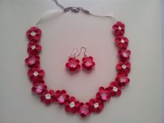 Set colier si cercei Beaded Necklace, Flowers, Handmade, Jewelry, Fimo, Beaded Collar, Hand Made, Jewlery, Bijoux