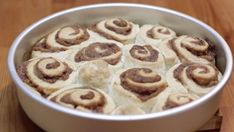 This easy quick cinnamon rolls without yeast recipe are awesome! They are made with simple everyday ingredients and done and ready to eat in an hour! Cinnamon Rolls Without Yeast, Quick Cinnamon Rolls, Round Cake Pans, Round Cakes, Bread Recipes, Baking Recipes, Baked Rolls, Pastry Blender, Soda Bread