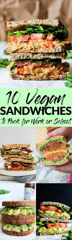"Make packing lunch for work or school FUN with these 10 delicious vegan sandwiches! With everything from BLTs to ""egg"" salad, you'll never get bored. Vegan Lunches, Lunch Snacks, Vegan Foods, Vegan Dishes, Vegan Snacks, Work Lunches, Veggie Recipes, Lunch Recipes, Whole Food Recipes"