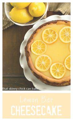 Lemon Bar Cheesecake   A luscious citrus cheesecake loaded with lemon curd #lemon #Cheesecake