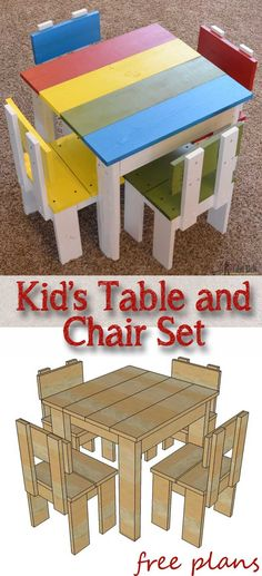 Build an easy table and chair set for the little kids. The set costs about $35…