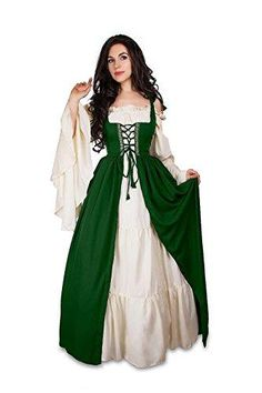 Mythic Renaissance Medieval Irish Costume Over Dress & Cream Chemise Set Irish Over Dress has boning on either side of the lacing, which is then covered with a lovely brocade trim (shown in picture in hunter green color; Each dress is matched to its own brocade). Front lace-up, shoulder ties and back laces. Mythic Chemise (unsmocked version) - elasticized at neckline and sleeves Refer to Reminisce size chart in listing. If in between, purchase larger size to cinch down Overdress is sized, ch Costume Renaissance, Renaissance Dresses, Medieval Costume, Medieval Dress, Italian Renaissance Dress, Under Dress, The Dress, Irish Costumes, Vintage Dresses