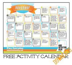 Check out our free printable November 2012 Activity Calendar! So fun!