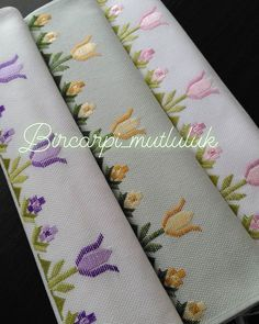 Bilgi ve sipariş . Good morning - what about the beauty of my tulips? Message for information and ordering please💌💌💌💌💌💞💞💞💞💞 Hardanger Embroidery, Cute Embroidery, Cross Stitch Embroidery, Embroidery Patterns, Cross Stitching, Cross Stitch Borders, Cross Stitch Designs, Palacio Bargello, Broderie Bargello