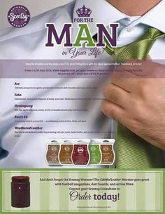 We can't leave out the men. Scentsy has scents for you also. Business Casual is my favorite!!!!  Cksavoryscents.scentsy.us