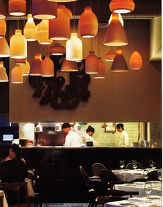 #restaurant - love the idea of multiple lights in different sizes hanging from the ceiling