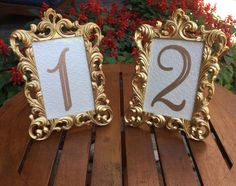 Items similar to Set of 20 Table number frames 4 x 6 gold wedding frames ornate baroque style on Etsy Victorian Wedding Themes, Baroque Wedding, Gold Wedding Theme, Wedding Frames, Wedding Ideas, Wedding Goals, Red Wedding, Wedding Colors, Wedding Stuff
